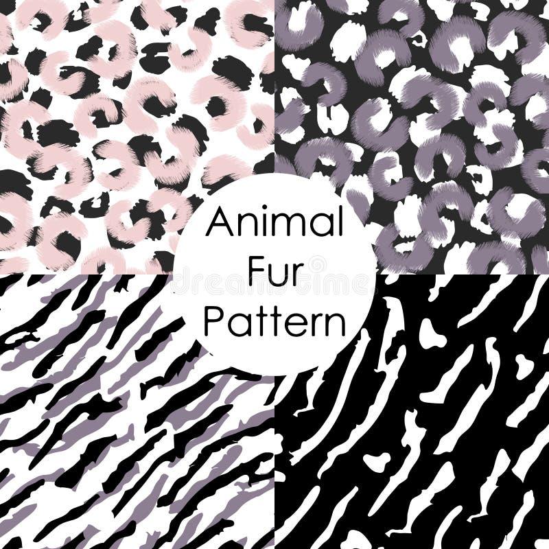 Dierlijk bont naadloos patroon Luipaard, tijger, behang van de irbis het abstracte huid stock illustratie