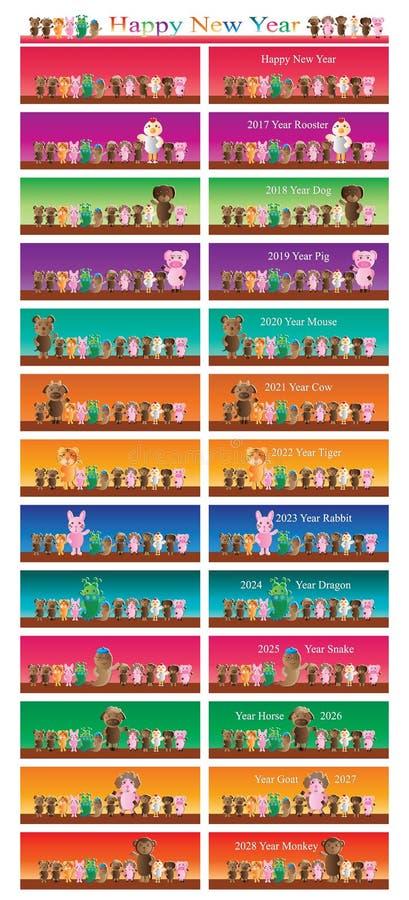 Dierlijk de banner vastgesteld jaar van het dierenriemteken royalty-vrije illustratie