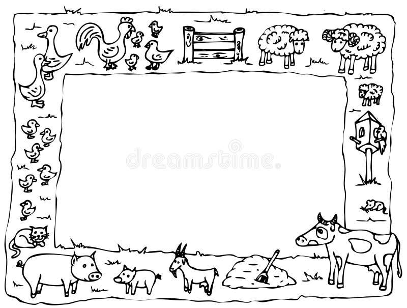 Dierlijk landbouwbedrijfframe vector illustratie