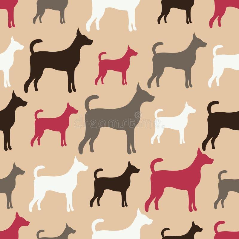 Dierlijk naadloos vectorpatroon van hondsilhouetten stock illustratie