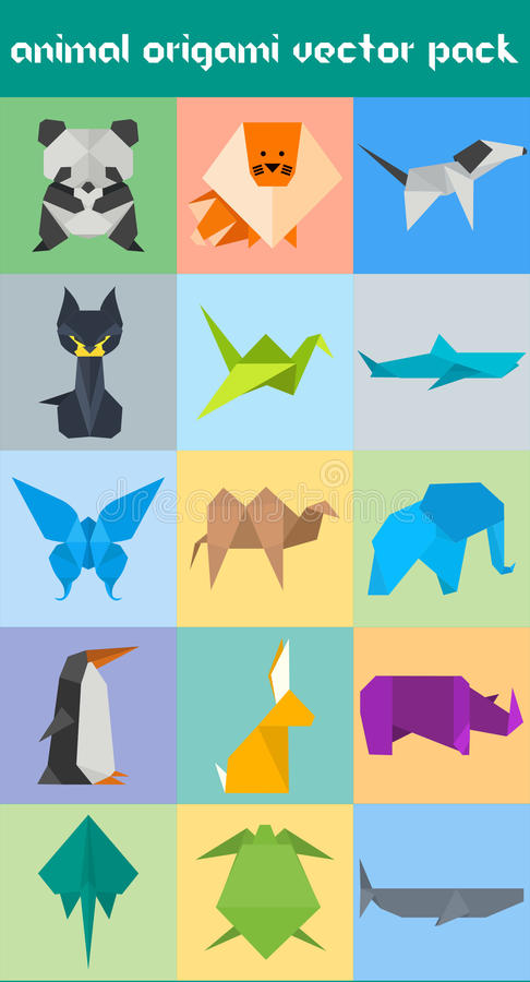 Dierlijk Origami Vectorpak vector illustratie