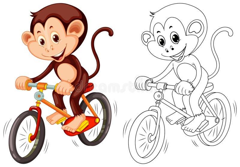 Dierlijk overzicht voor aap op fiets royalty-vrije illustratie