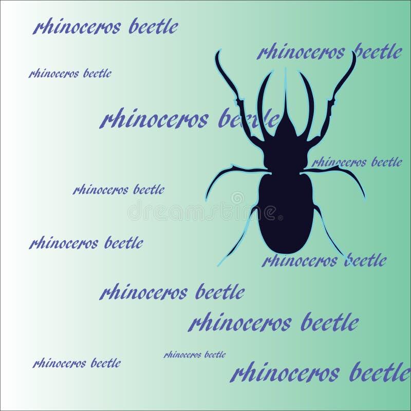 Dierlijk patroon: een donkerblauw silhouet van een rinoceroskever op een groene achtergrond vector illustratie