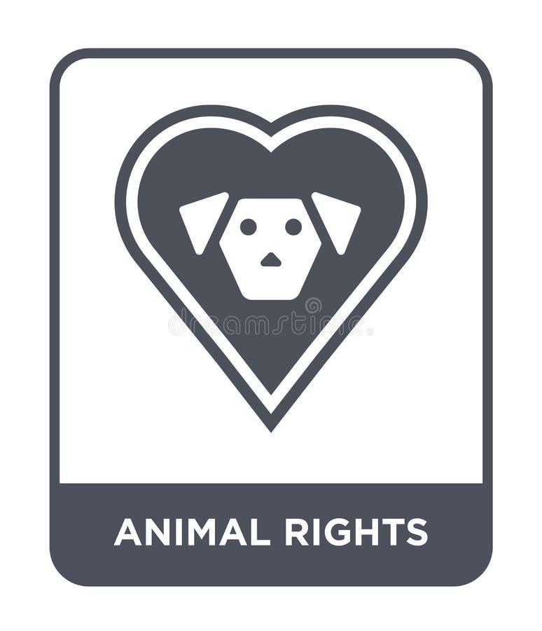 dierlijk rechtenpictogram in in ontwerpstijl dierlijk die rechtenpictogram op witte achtergrond wordt geïsoleerd dierlijk eenvoud royalty-vrije illustratie