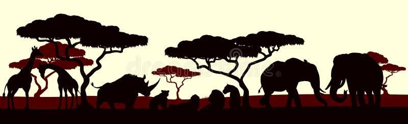 Dierlijk Silhouet Afrikaanse Safari Landscape Scene stock illustratie