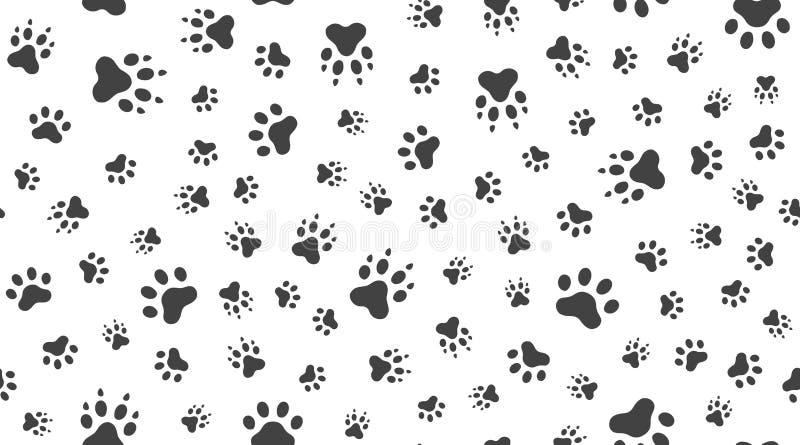 Dierlijk sporen vector naadloos patroon met vlakke pictogrammen Zwarte witte de poottextuur van het kleurenhuisdier Hond, de acht vector illustratie