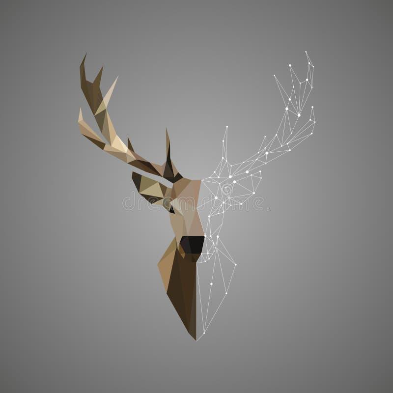 Dierlijke abstracte veelhoekige illustratie van het herten de lage polyportret stock foto