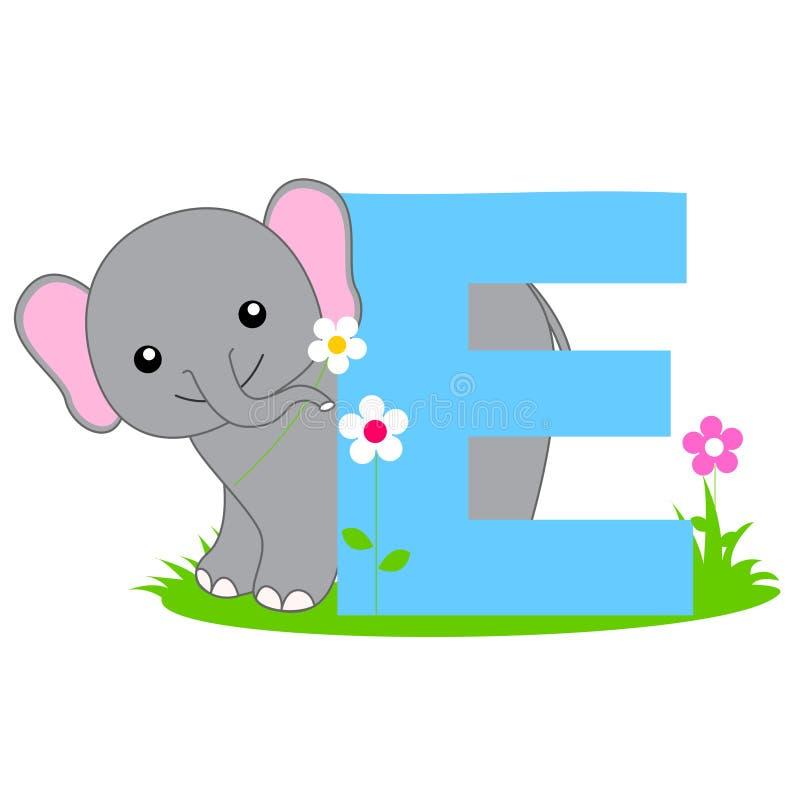 Dierlijke alfabetbrief - E
