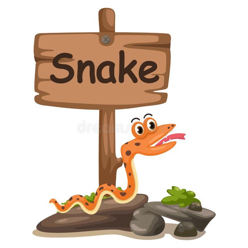 Dierlijke alfabetbrief S voor slang royalty-vrije illustratie