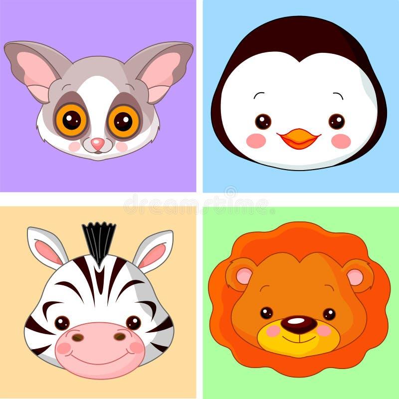 Dierlijke avatars royalty-vrije illustratie