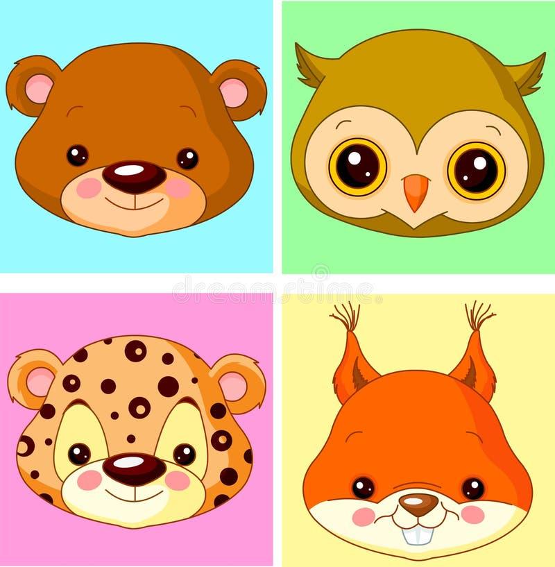 Dierlijke avatars stock illustratie