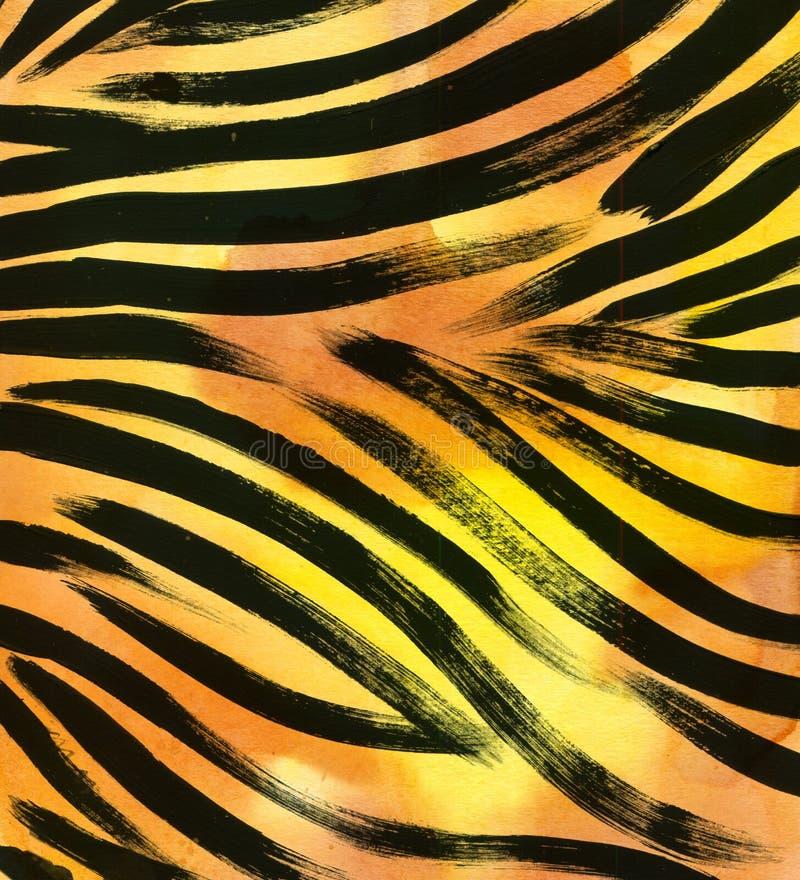 Dierlijke bontachtergrond gestreepte de waterverfhand getrokken achtergrond van het streep abstracte exotische bont De illustrati vector illustratie