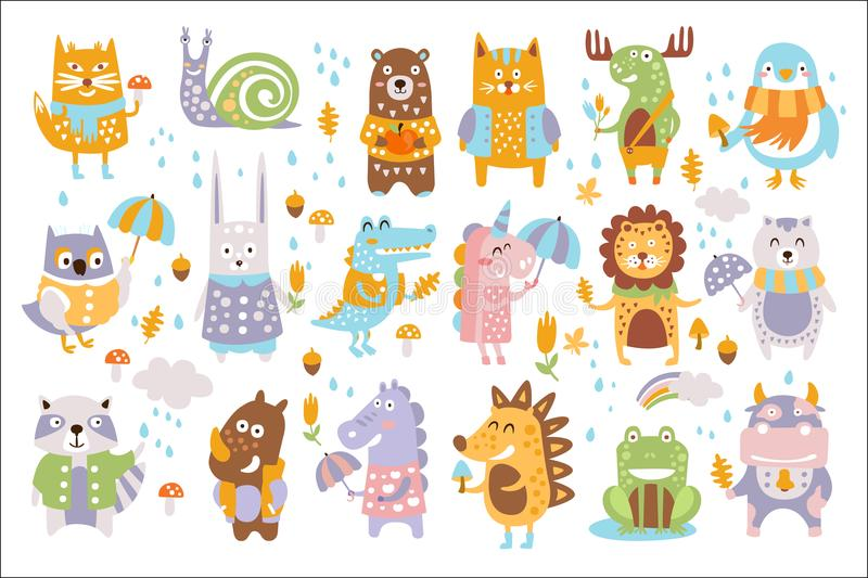Dierlijke bos de herfst vectorreeks Beeldverhaal van leuke dieren vectorreeks vector illustratie