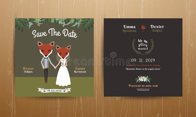 Dierlijke bruid en bruidegom de uitnodigingskaart van het beeldverhaalhuwelijk stock illustratie