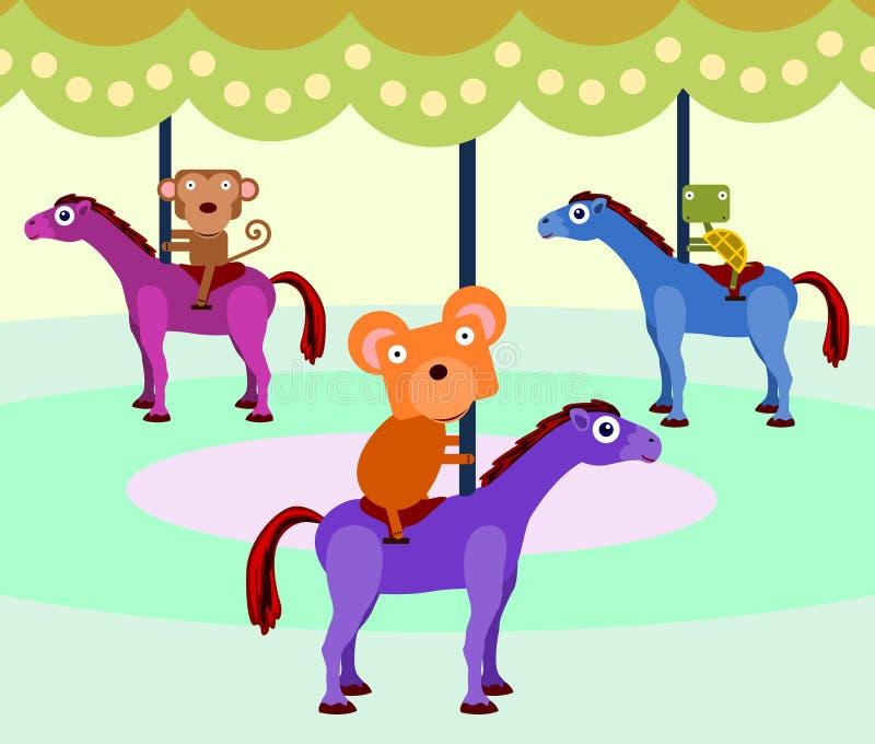 Dierlijke carrousel vector illustratie