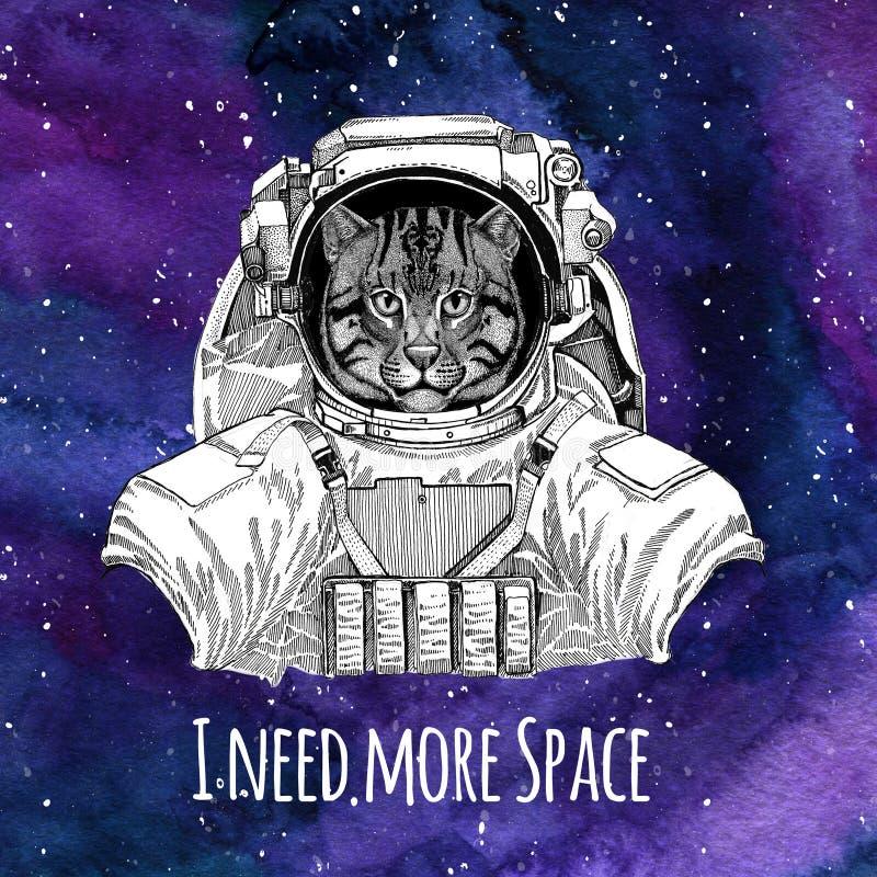 Dierlijke de kat van astronautenWild Visserijkat die de ruimteachtergrond van de ruimtepakmelkweg met sterren en de melkweg van d royalty-vrije illustratie