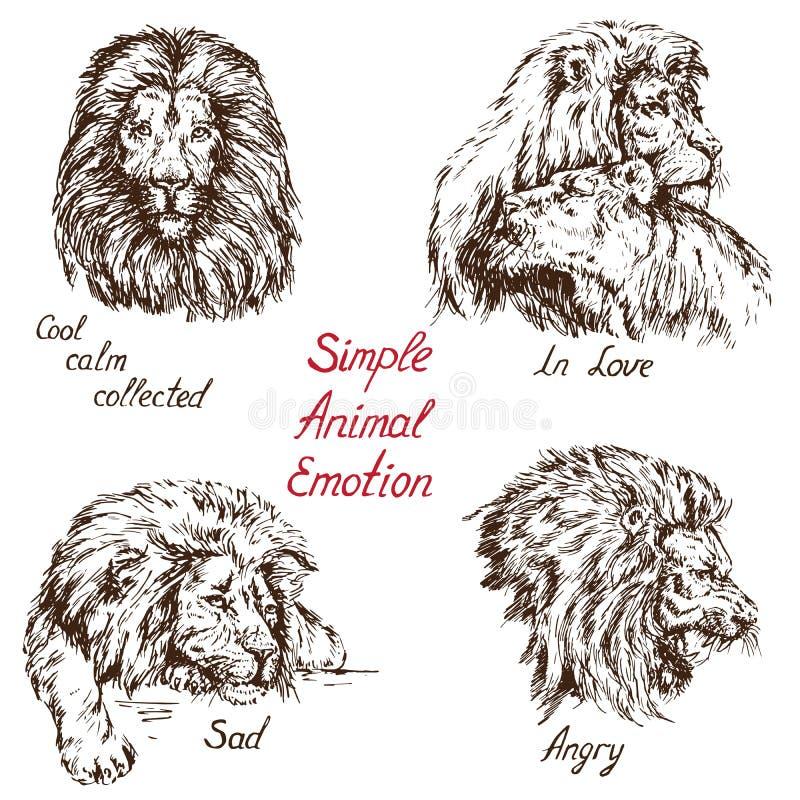 Dierlijke die de emotiereeks van Lion Simple, met koele inschrijving, rust, in boze liefde wordt verzameld, droevig, vector illustratie