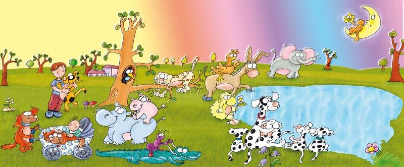 Dierlijke gelukkig park, meer, honden en kinderen, royalty-vrije stock afbeeldingen