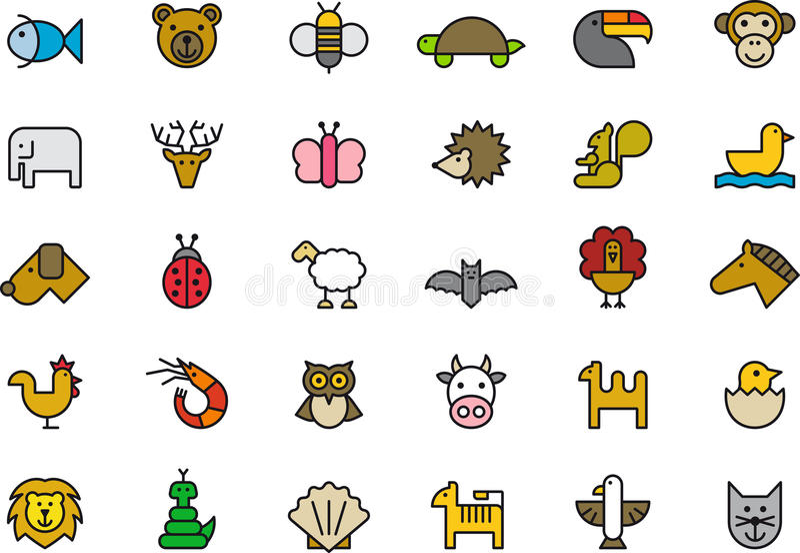Dierlijke geplaatste pictogrammen royalty-vrije illustratie