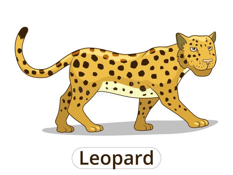 Dierlijke het beeldverhaalvector van de luipaard Afrikaanse savanne royalty-vrije illustratie