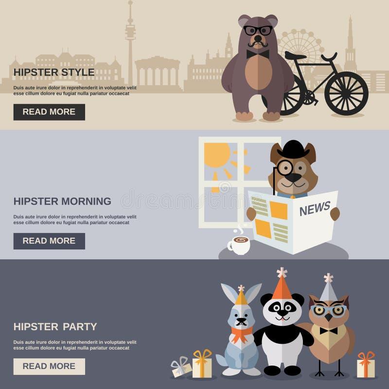 Dierlijke Hipster-Bannerreeks royalty-vrije illustratie