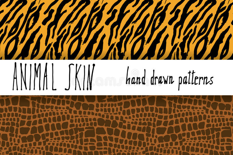 Dierlijke huidhand getrokken textuur, Vector naadloze patroonreeks, schetstekening clocodile en de texturen van de tijgerhuid stock illustratie