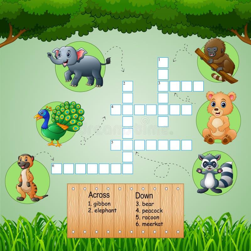 Dierlijke kruiswoordraadsels voor jonge geitjesspelen stock illustratie