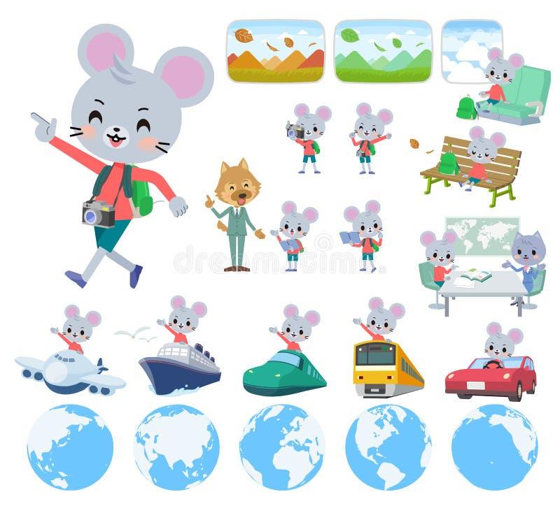 Dierlijke muis boy_travel stock illustratie