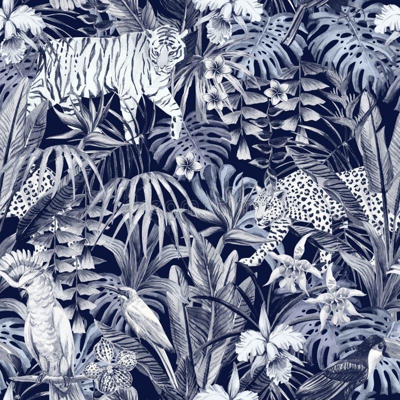Dierlijke patroon blauwe dark stock illustratie