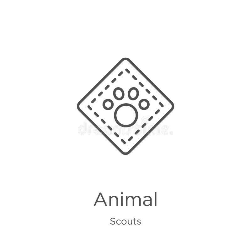 dierlijke pictogramvector van verkennersinzameling Dunne het pictogram vectorillustratie van het lijn dierlijke overzicht Overzic stock illustratie