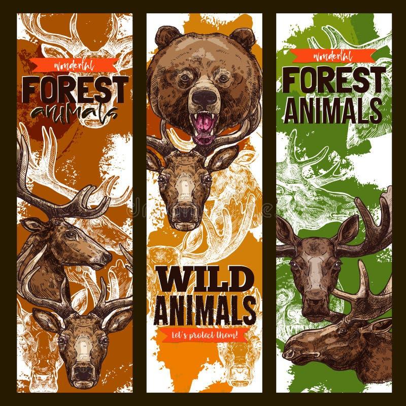 Dierlijke schetsbanner die met beer, herten en elanden wordt geplaatst royalty-vrije illustratie