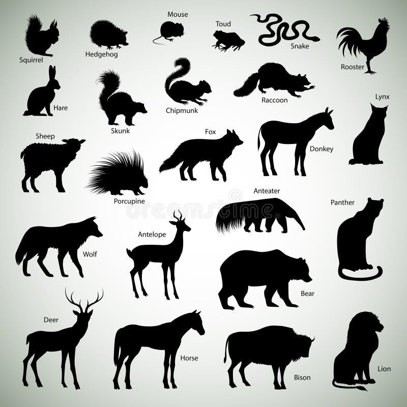 Dierlijke silhouetten royalty-vrije illustratie