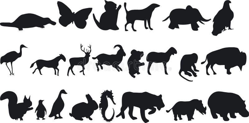 Dierlijke Silouettes vector illustratie