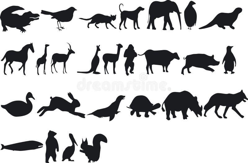 Dierlijke Silouettes stock illustratie