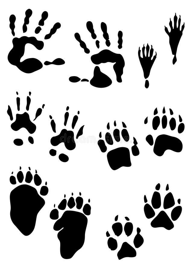 Dierlijke voetafdrukzegels en menselijke handenaf:drukken royalty-vrije illustratie
