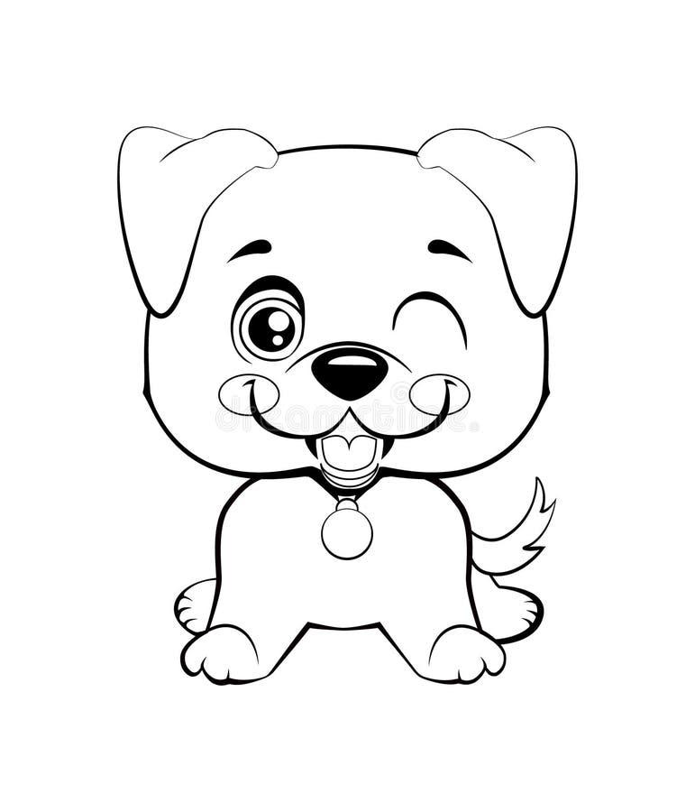 Dierlijke witte snuit van het Kawaii de grappige puppy met roze wangen en het knipogen ogen royalty-vrije illustratie