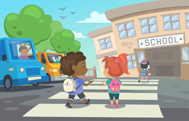 Diese Illustration zeigt Kinder mit Schultaschen, die zur Schule zurückgehen vektor abbildung