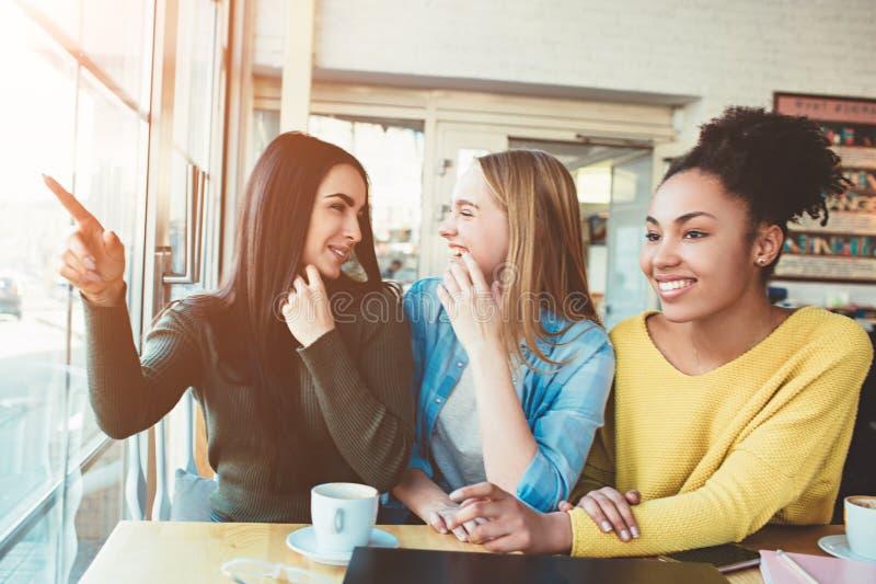 Diese Mädchen klatschen gerade, sitzend am Tisch im Café und über einen anderen Mann sprechend Junge Frauen werden überrascht und stockbild