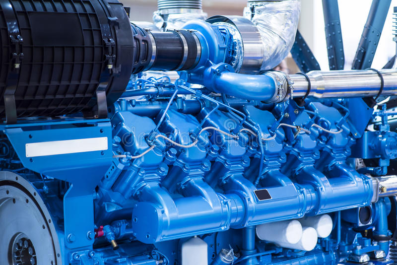 Diesel engine for boat stock image