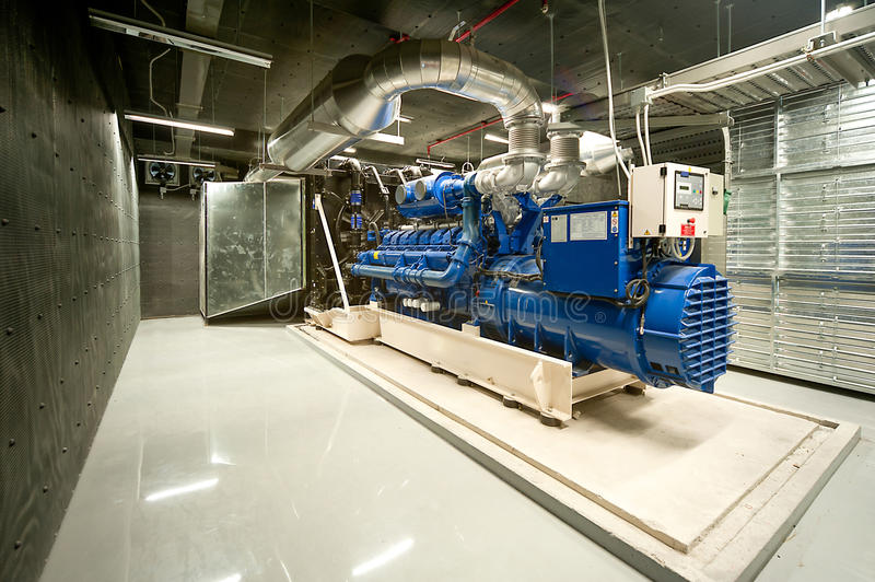 Diesel generator. Unit in generator room royalty free stock photos
