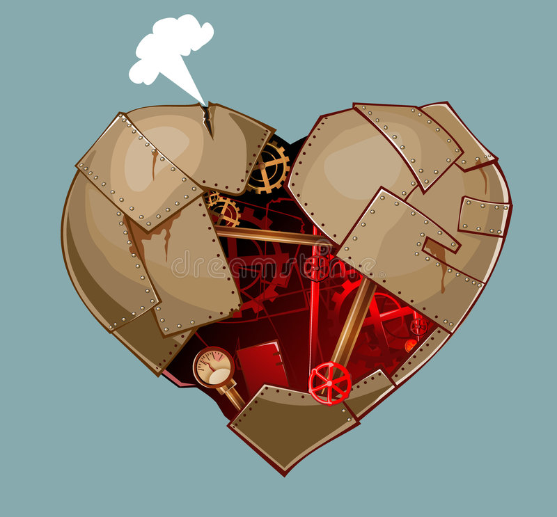 Diesel heart. Rusty, corroded heart with pipes, gear vector illustration