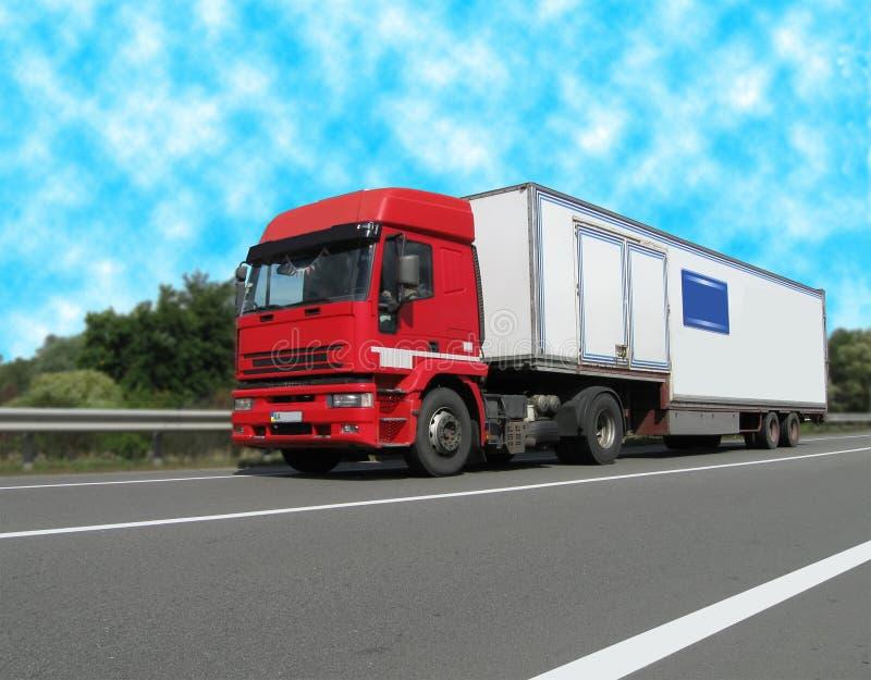 Diesel heavy cargo van (fuel lorry), highway stock photo