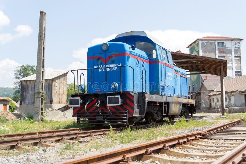 Diesel hydraulische blauwe locomotief stock afbeelding