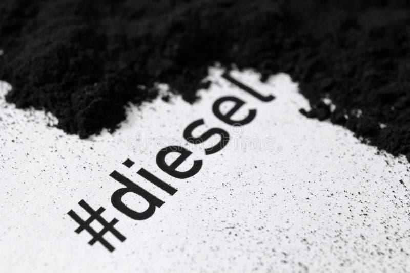 Diesel impresso do hashtag com fuligem e pilha da fuligem imagens de stock
