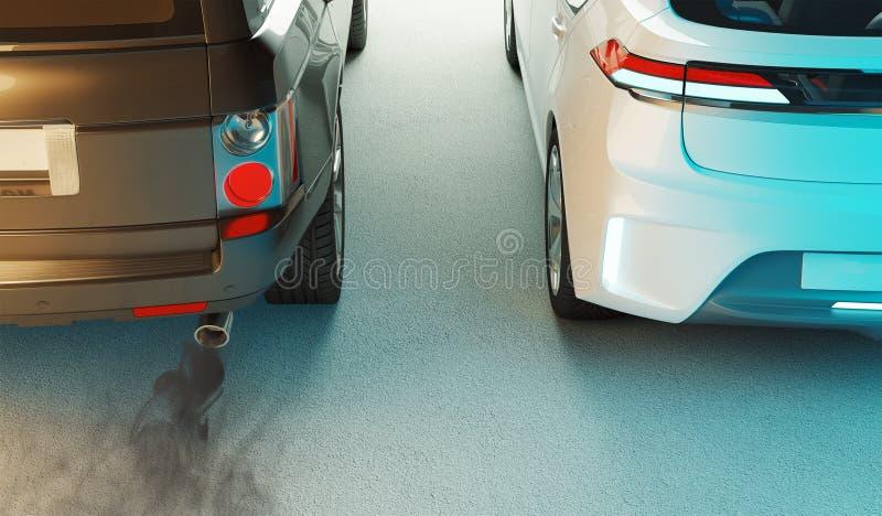 Diesel kontra elektryczność, renderowanie 3d ilustracja wektor
