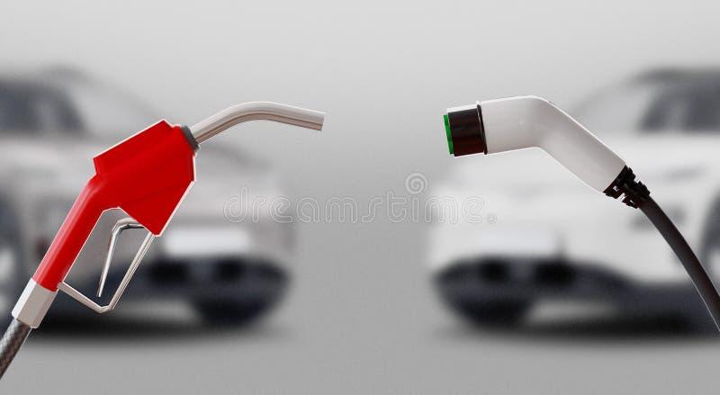 Diesel kontra elektryczność Stacja gazowa lub elektryczna Renderowanie 3d ilustracji