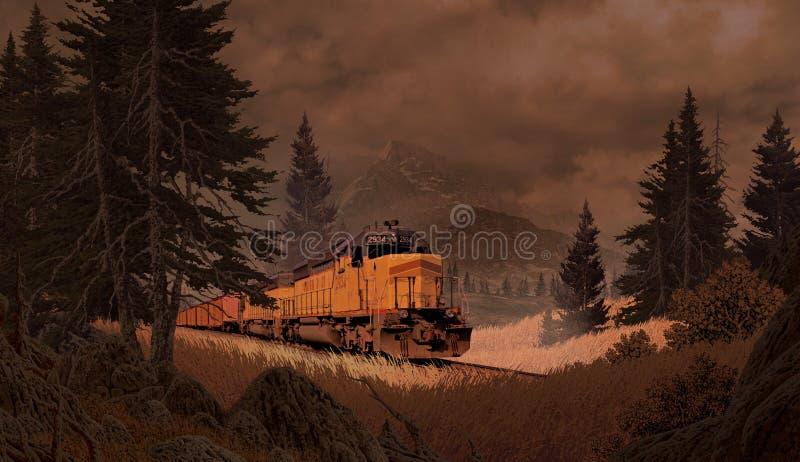 Diesel Locomotief in de Bergen royalty-vrije illustratie