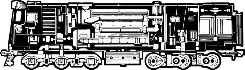 Diesel locomotief met zijn structuur en elementen vector illustratie