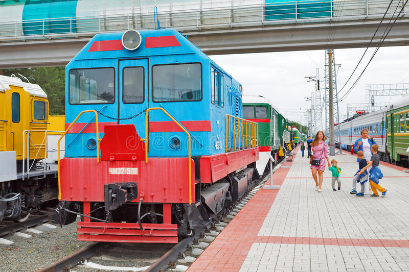 Diesel locomotive ChME 2 — Czechoslovak shunting diesel locomotive with electric transmission. Novosibirsk Museum of railway. Novosibirsk Museum of royalty free stock photography