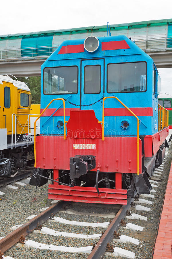 Diesel locomotive ChME 2 — Czechoslovak shunting diesel locomotive with electric transmission. Novosibirsk Museum of railway. Novosibirsk Museum of stock images
